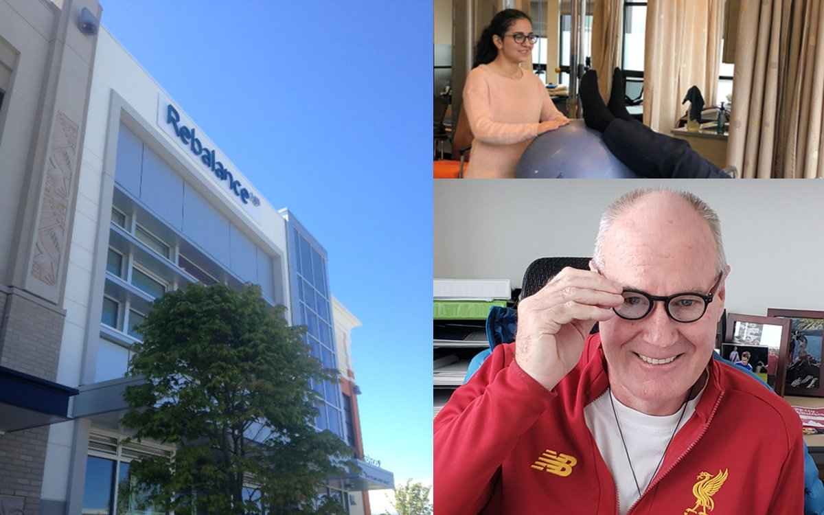 Collage of images with exterior office of RebalanceMD, CEO Stefan Fletcher and WIL student Ronak Sheiki.
